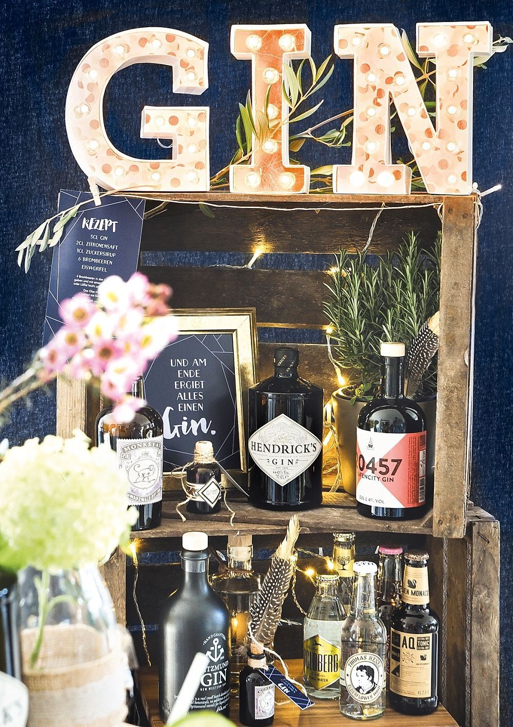 Diy Gin Bar Yourself For The Wedding In 2020 Diy Wedding Bar Gin Bar Diy Bar