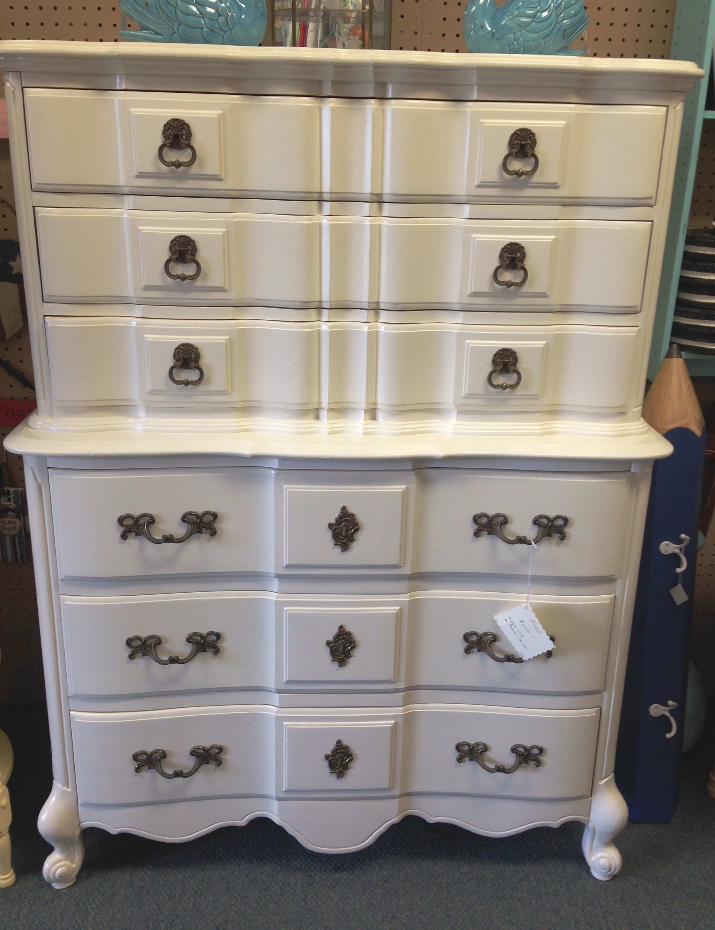 Hand-painted white chest on chest at Homestead Handcrafts, San Antonio, Texas