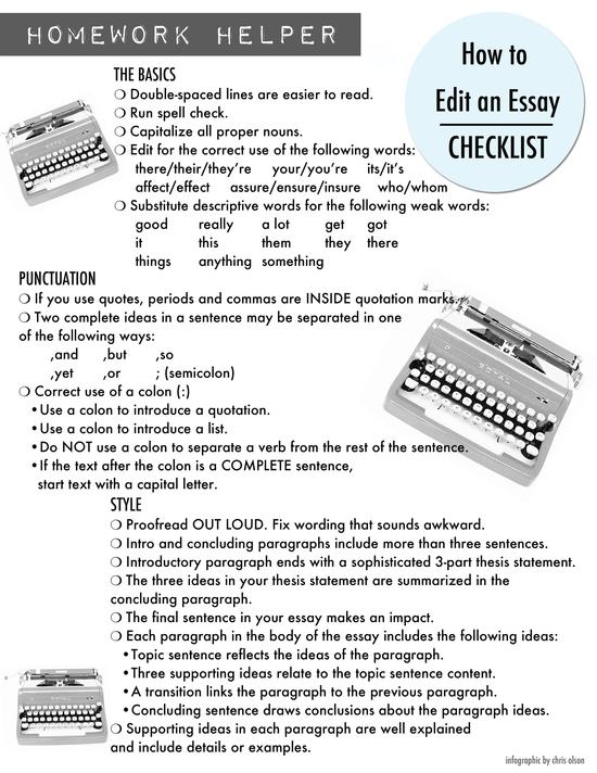 002 Homework Helper How to Write an Essay {Checklist