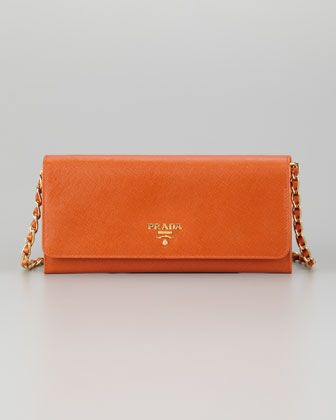 51496f4d1 Saffiano Wallet on a Chain, Papaya by Prada at Neiman Marcus ...