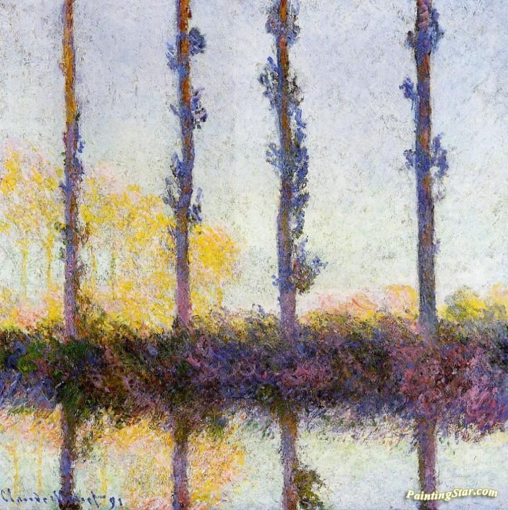 Four Poplars on the Banks of the Epte River Artwork by Claude Oscar Monet Hand-painted and Art Prints on canvas for sale,you can custom the size and frame