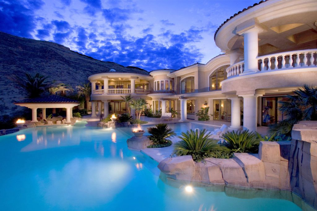 Exterior Luxurious Hill Side Mansion In Cream Tone With Awesome