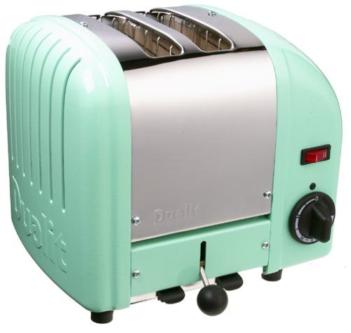 Dualit Toaster, Mint Green: Kitchen & Dining--so cute, but SOOO  expensive.it's a toaster!
