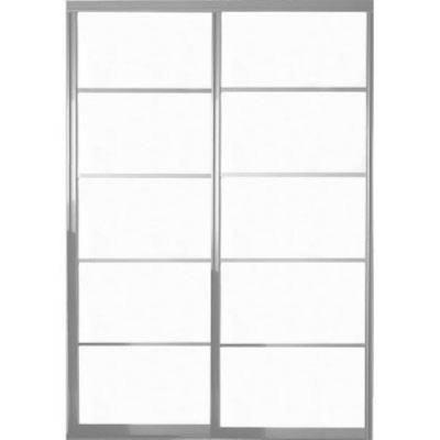 Contractors Wardrobe 48 In X 96 In Silhouette 5 Lite Satin Clear Aluminum Frame Mystique Glass Interior Sliding Door Si5 4896sc2x Sliding Doors Interior Contractors Wardrobe Sliding Doors