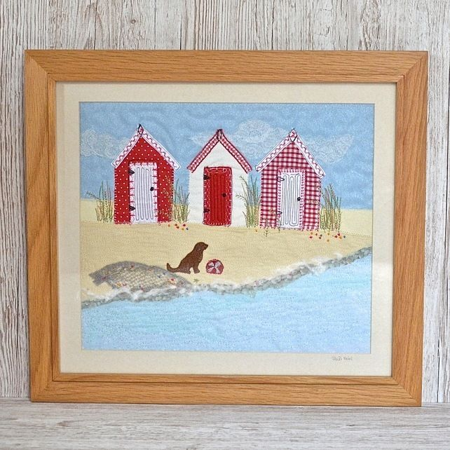 Beach Hut Machine Embroidery Design: Textile Art Of Red Beach Hut Picture With