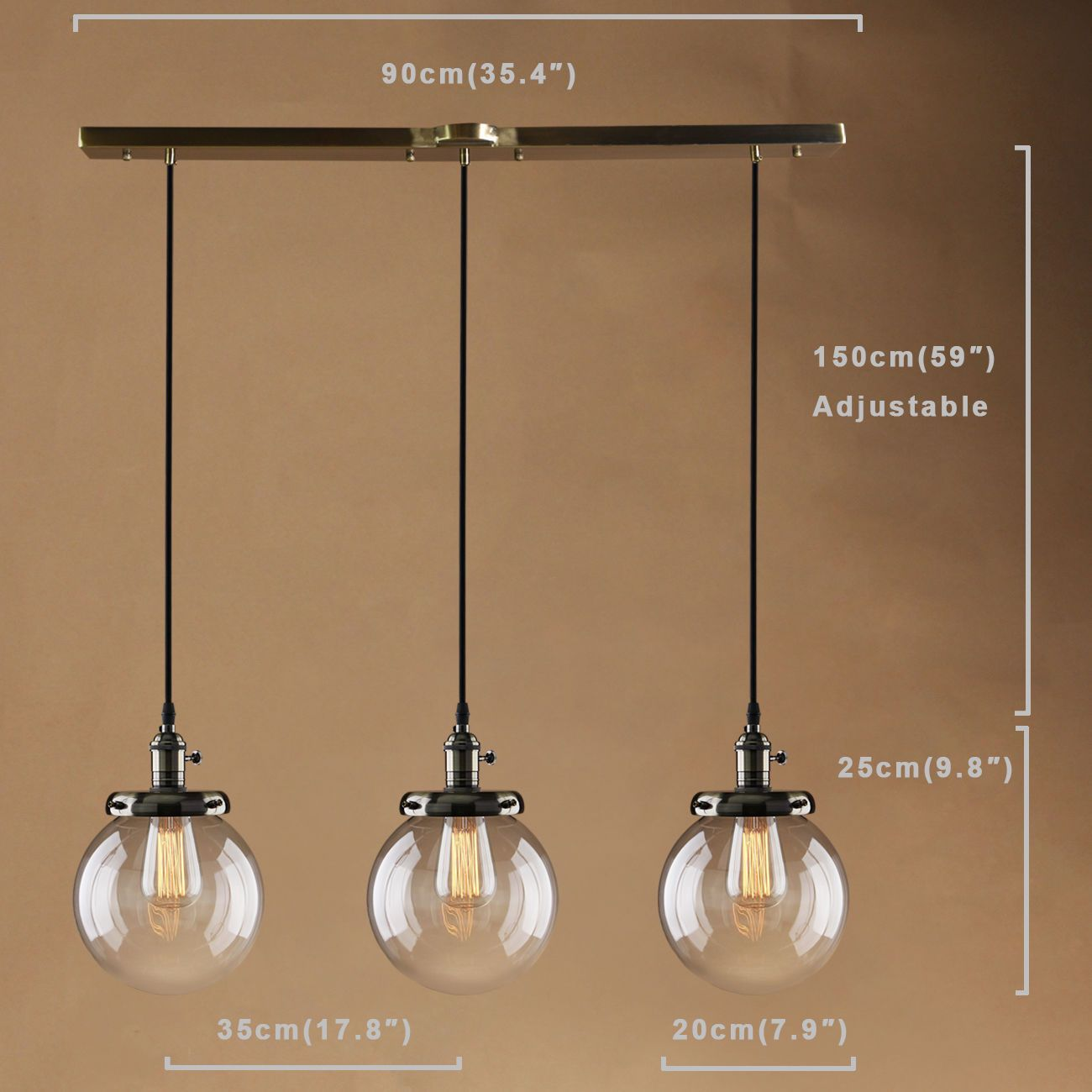 Vintage Industrail Cluster 3 Pendants Loft Ceiling Light Clear Glass Bronze Lamp Contemporary Lamp Design Ceiling Lights Bronze Lamp