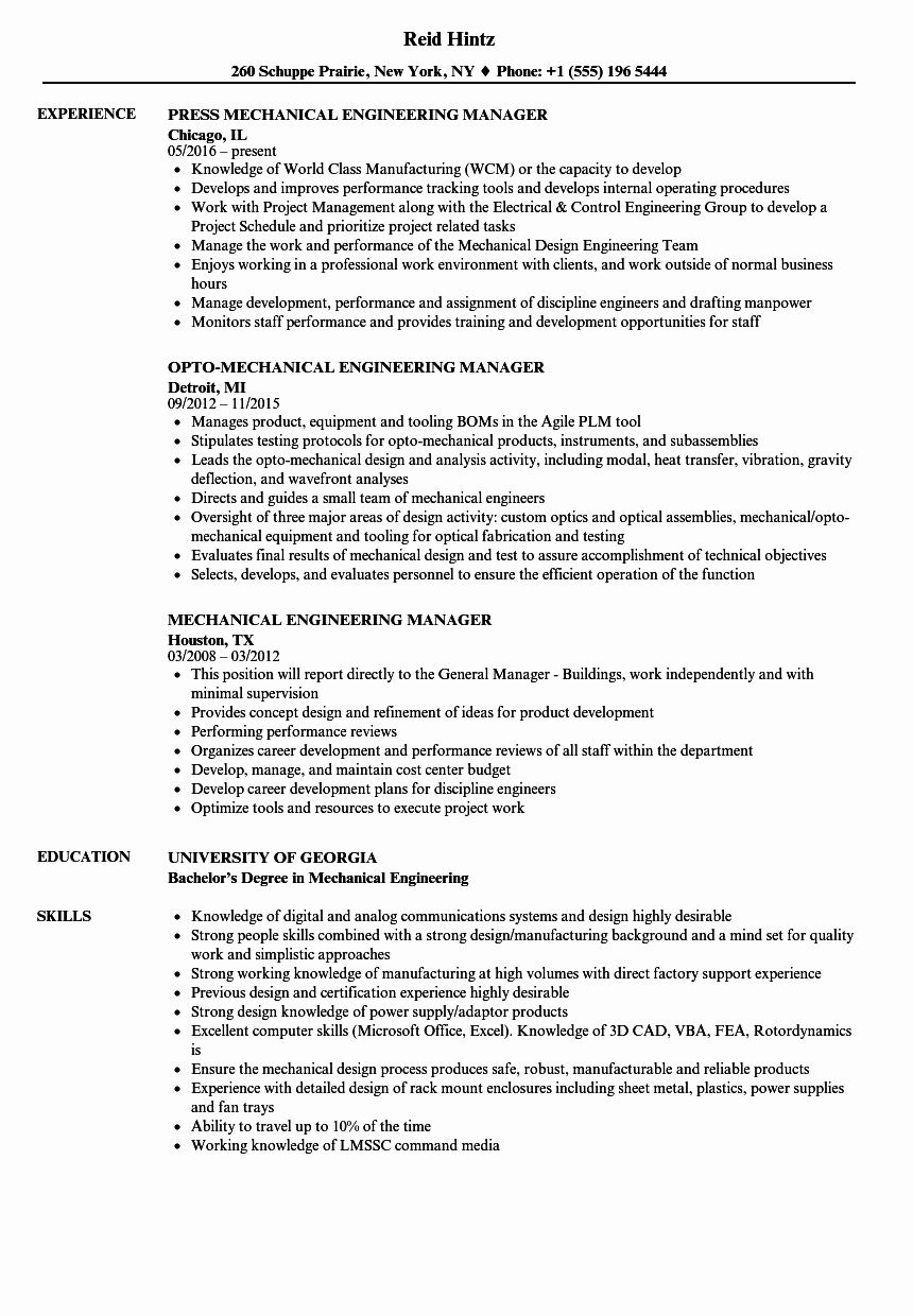 Engineering Project Manager Resume Luxury Mechanical Engineering Manager Resume Samples Real Estat