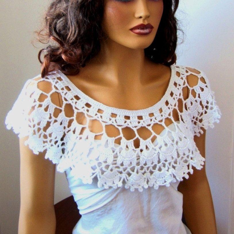 white shawl, shoulder shrug | nakış ogrenme | Pinterest | Blusas ...