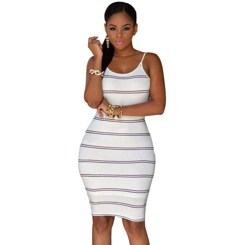 Sexy Ivory Black/Navy White Striped Midi Dress - One Size (M/L)