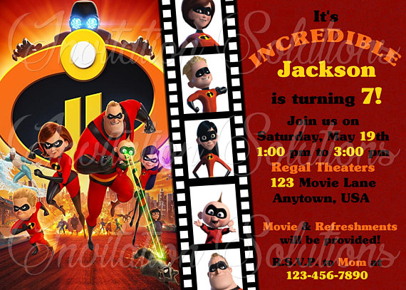The Incredibles 2 Birthday Party Invitation Movie Themed Invite Inspir