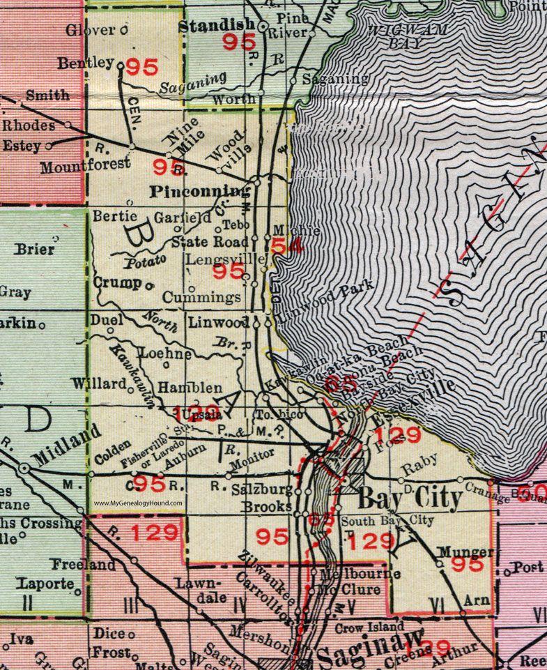 Bay County Michigan 1911 Map Rand Mcnally Bay City Pinconning Auburn Kawkawlin Essexville Fisherville Munger Bentl Bay County Pinconning County Map