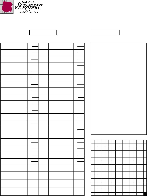 Free Scrabble Score Sheet 1