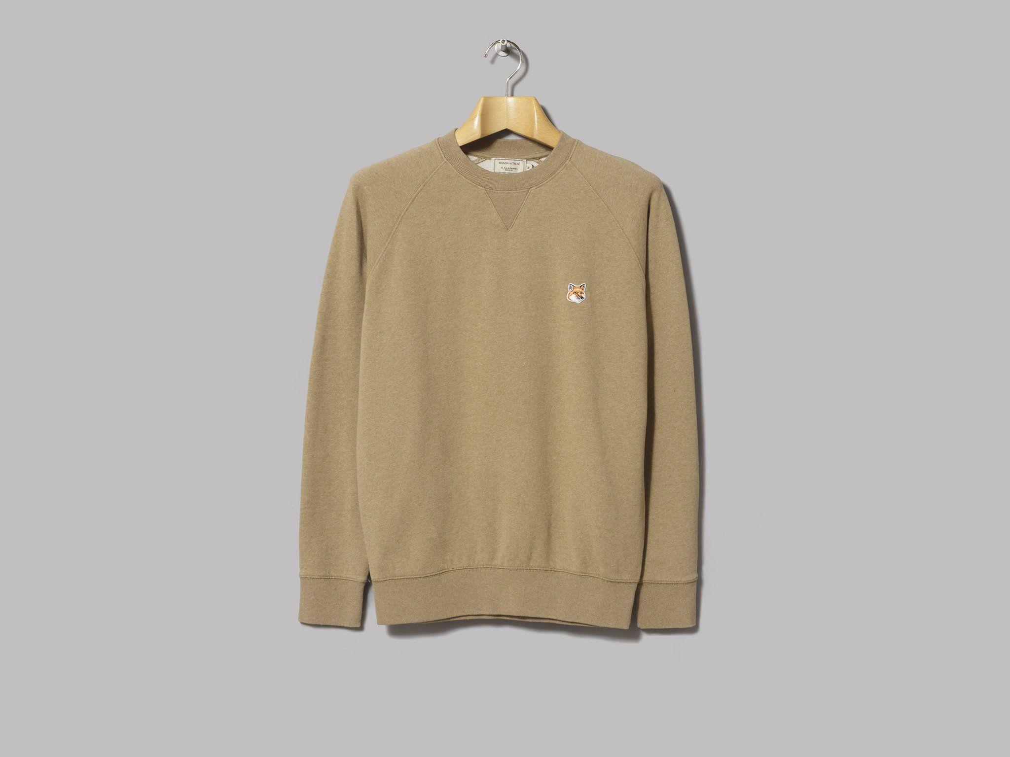 Maison Kitsune Fox Head Patch Sweatshirt Beige Melange Long Sleeve Tshirt Men Patch Sweatshirts Mens Tops [ 1536 x 2048 Pixel ]