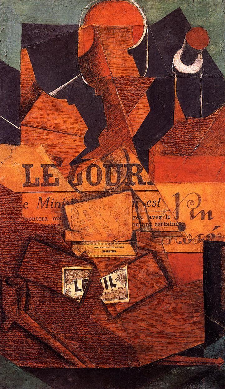 Tobacco Newspaper And Bottle Of Wine 1914 Art Cubism Artwork
