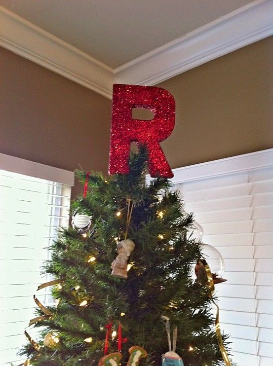 Monogram tree topper. Made from cardboard letter, acrylic paint, glitter  and sealer: - Monogram Tree Topper. Made From Cardboard Letter, Acrylic Paint