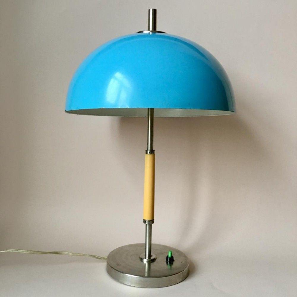 For Sale Vintage Blue Metal Table Lamp 1970s Lamp Metal Table Lamps Retro Lamp