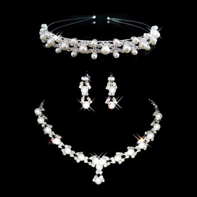 Hot Wedding Jewellery Set Bridal Jewelry Pearl Necklace Earrings And Hairband 1