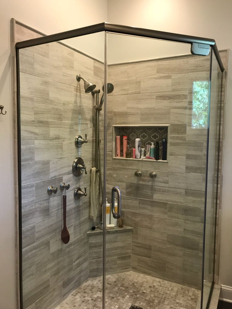 Frameless Neo Angle Enclosure With Header Oil Rubbed Bronze