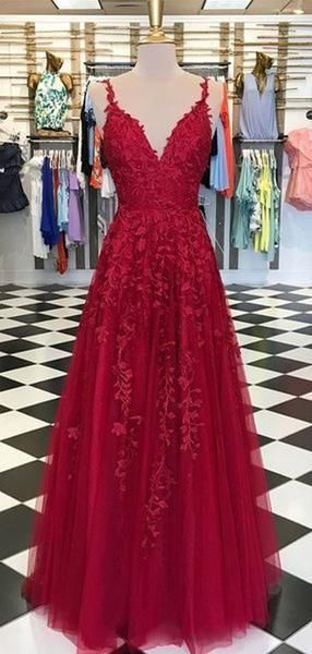 Red Appliques Lace Long A-line Tulle Prom Dresses