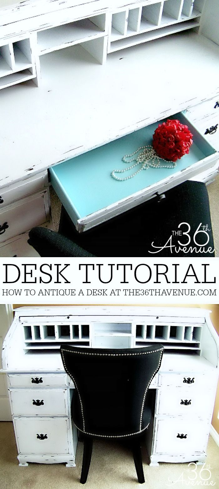 How to paint furniture and antique a desk at the36thavenue.com - How To Paint Furniture - Desk Makeover Desk Makeover, Country