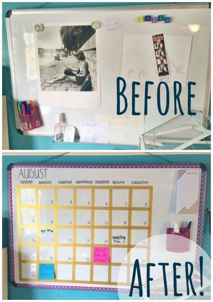 Diy White Board Makeover Whatever Bright Things White Board Diy Calendar Dry Erase Organisation Board