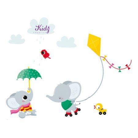 nouvelles images muurstickers babykamer olifantjes - jongenskamer, Deco ideeën