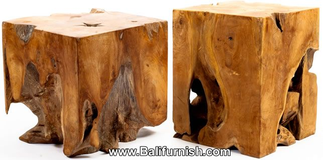 Teak Root Wood Block. Teak Root Wood Cube Table or Lamp Stand