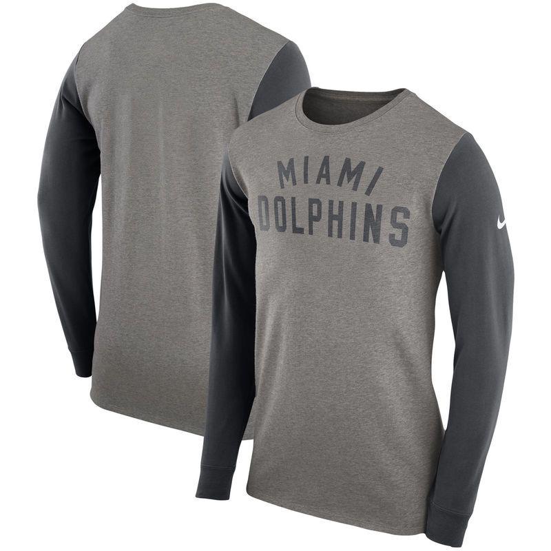 ada75dfd5 Miami Dolphins Nike Heavyweight Arch Long Sleeve T-Shirt - Heathered Gray