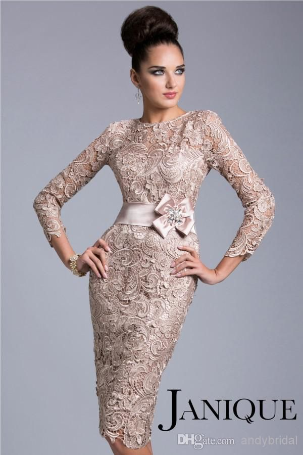 f049ce87808 Janique 2015 Lace Evening Dresses with Belt Long Sleeve Evening ...