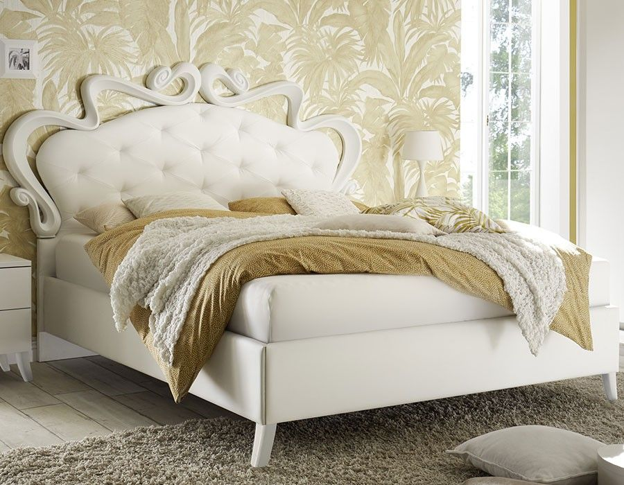 Lit adulte blanc design capitonné LUCREZIA Lit design Pinterest - schlafzimmer set 180x200
