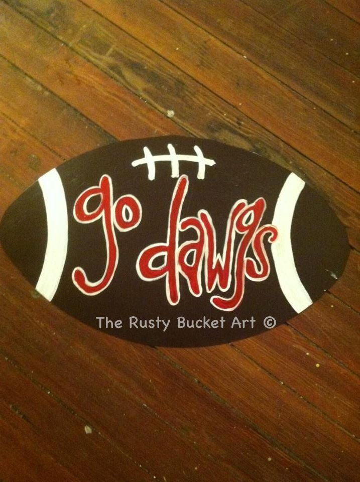 Georgia football door hanger #therustybucketart #doorhanger