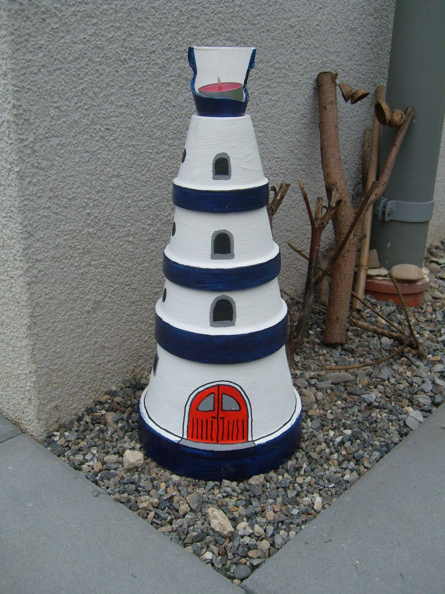 Leuchtturm aus alten tont pfen zuk nftige projekte for Leuchtturm basteln