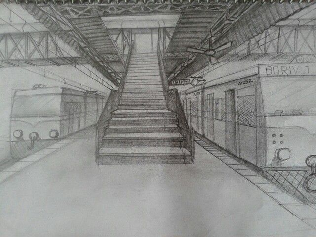 Railway Station Perspective Sketch Perspective Drawing