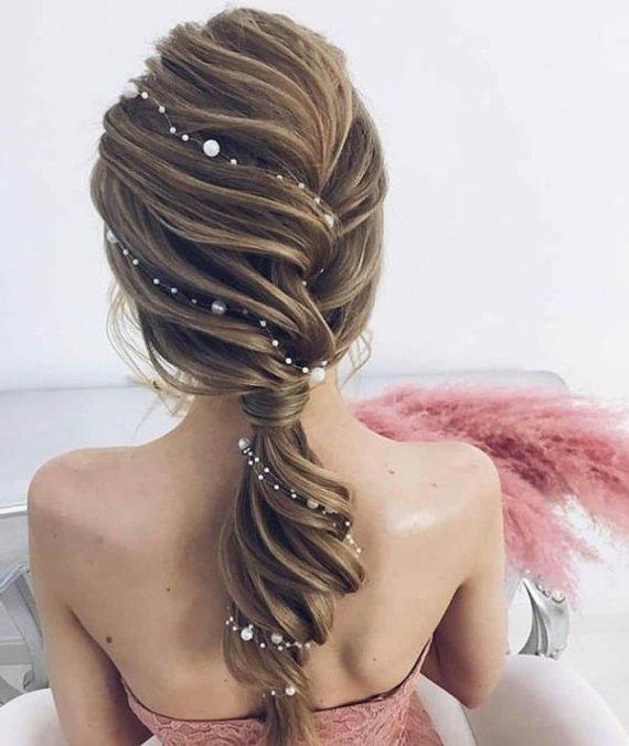 Long Hair Viner Pearl Hair Vine Pearl Headband Wedding headpiece Bridal Hair vine Bridal Jewelry ...