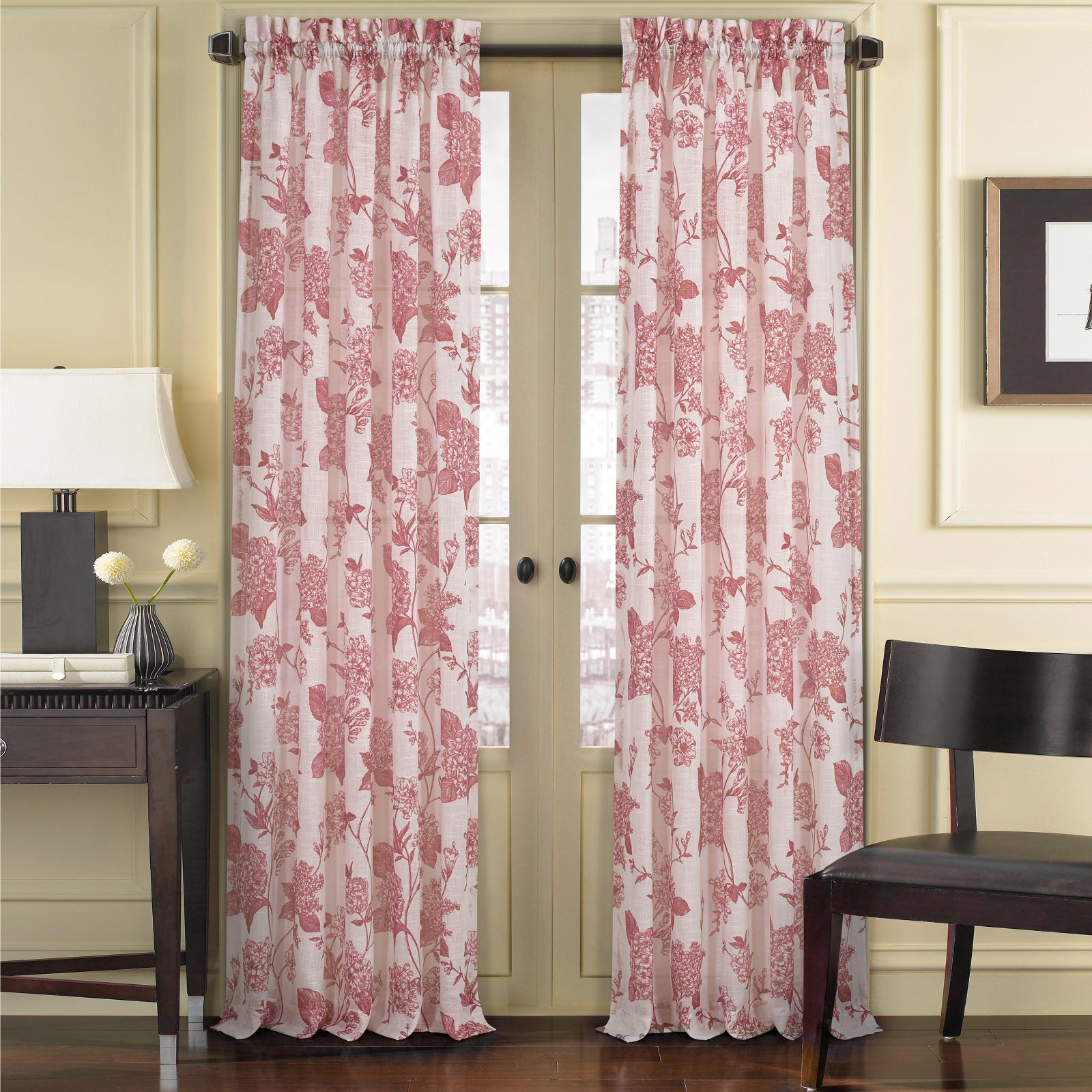 Five Queens Court April Floral Toile Curtain Panel Red Panel