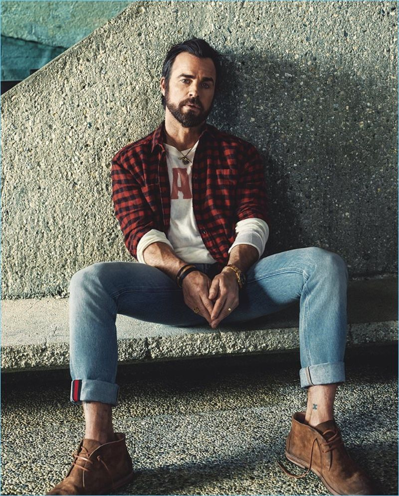 158ed1ef0c23b Bjorn Iooss photographs Justin Theroux in a Saint Laurent buffalo check  shirt with Gucci jeans and a t-shirt by The Elder Statesman.