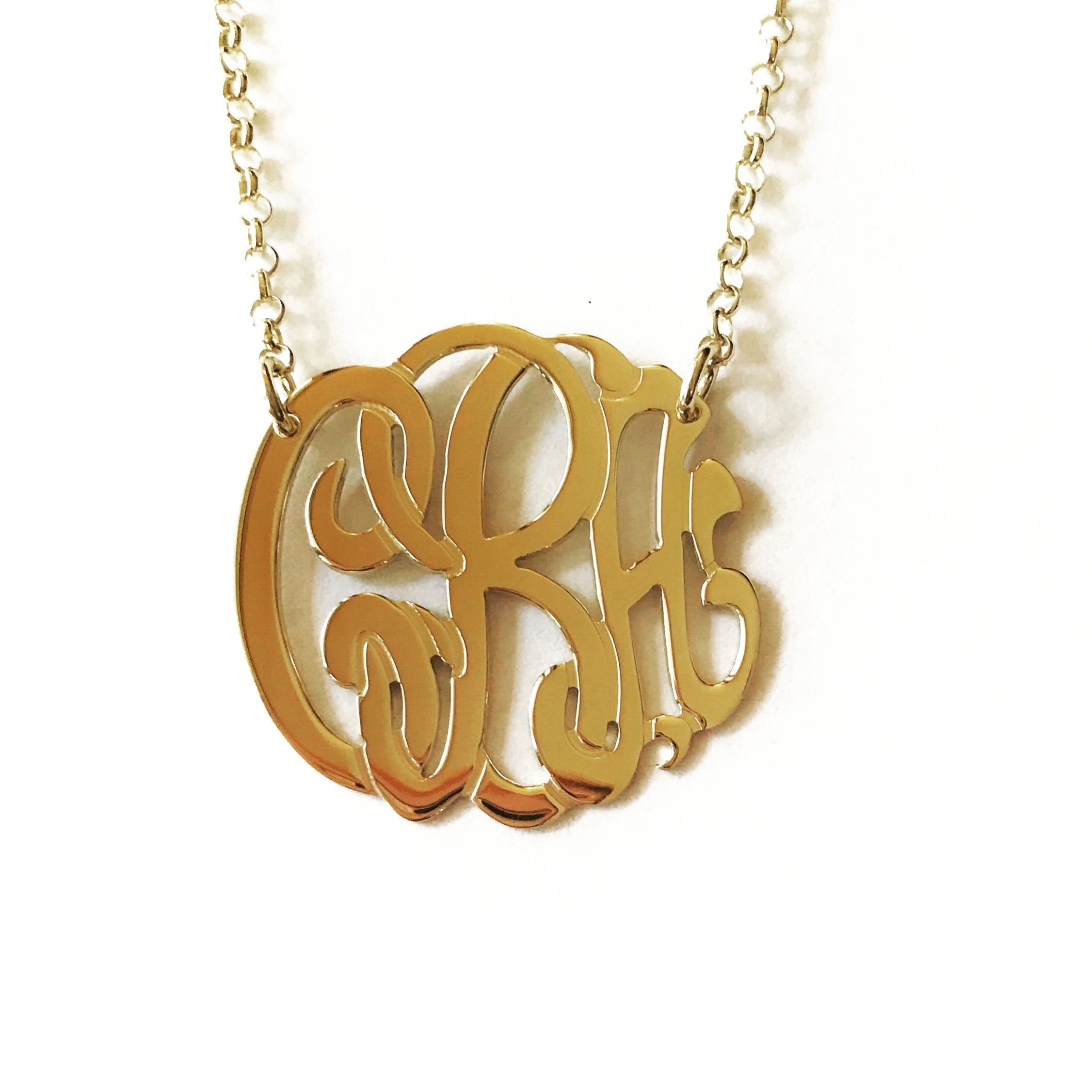 14k gold monogram 3 initial necklace pinterest initial necklaces 14k gold monogram 3 initial necklace aloadofball Image collections