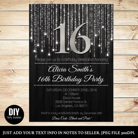 black and silver sweet 16 invitations