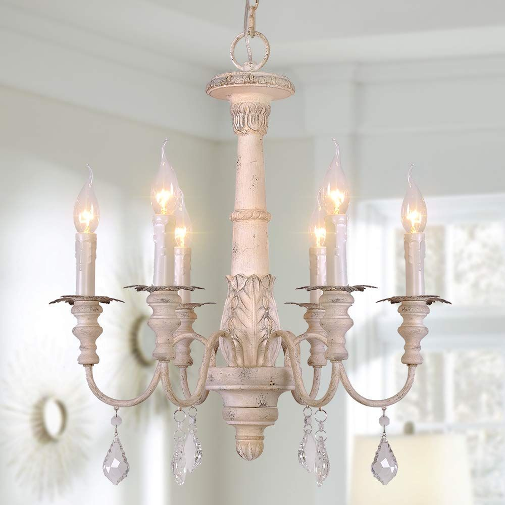 Osairuos French Country Candle Style Chandelier Handmade White Distressed Wood Lighting C In 2020 French Country Chandelier Country Chandelier Candle Style Chandelier