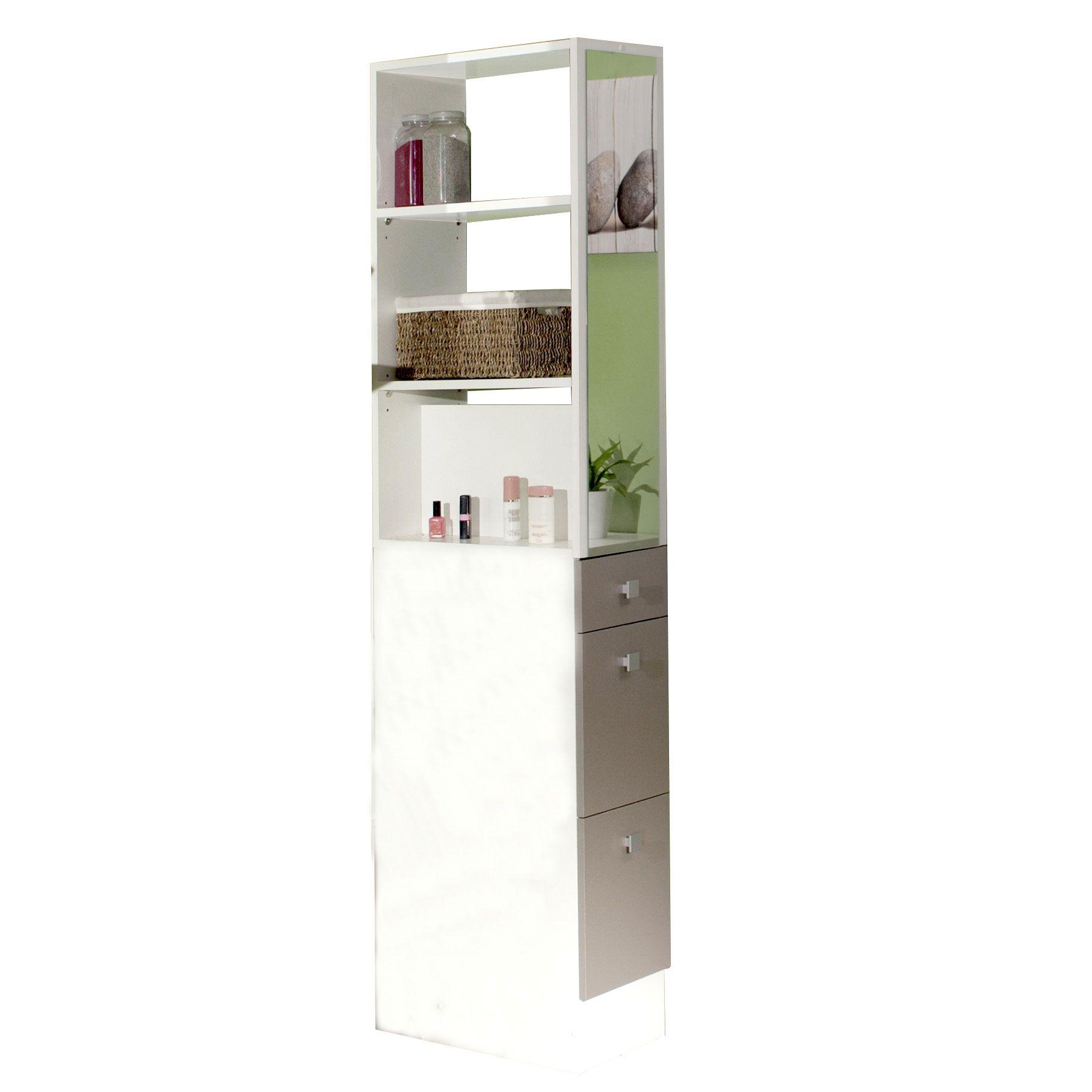 Colonne salle de bain 3 tiroirs 1 miroir L24 5xP54xH181 50cm BANIO