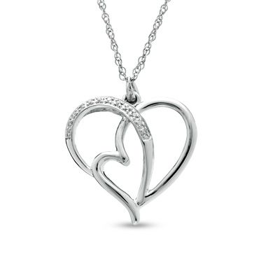 Diamond accent heart pendant in sterling silver amega pinterest diamond accent heart pendant in sterling silver aloadofball