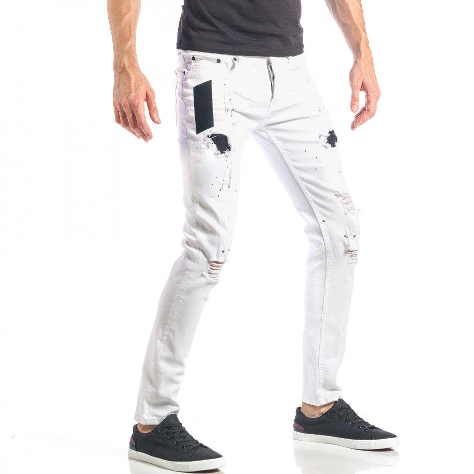 Ανδρικό λευκό τζιν slim fit με μαύρες πιτσιλιές και μπαλώματα it040518-16  bb05c6ab019