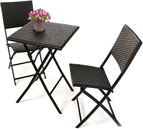 Enjoy exclusive for COBANA CBN-15004 3-piece Outdoor Patio Resin Wicker Rattan Folding Bistro Set online - Newtrendyfashion