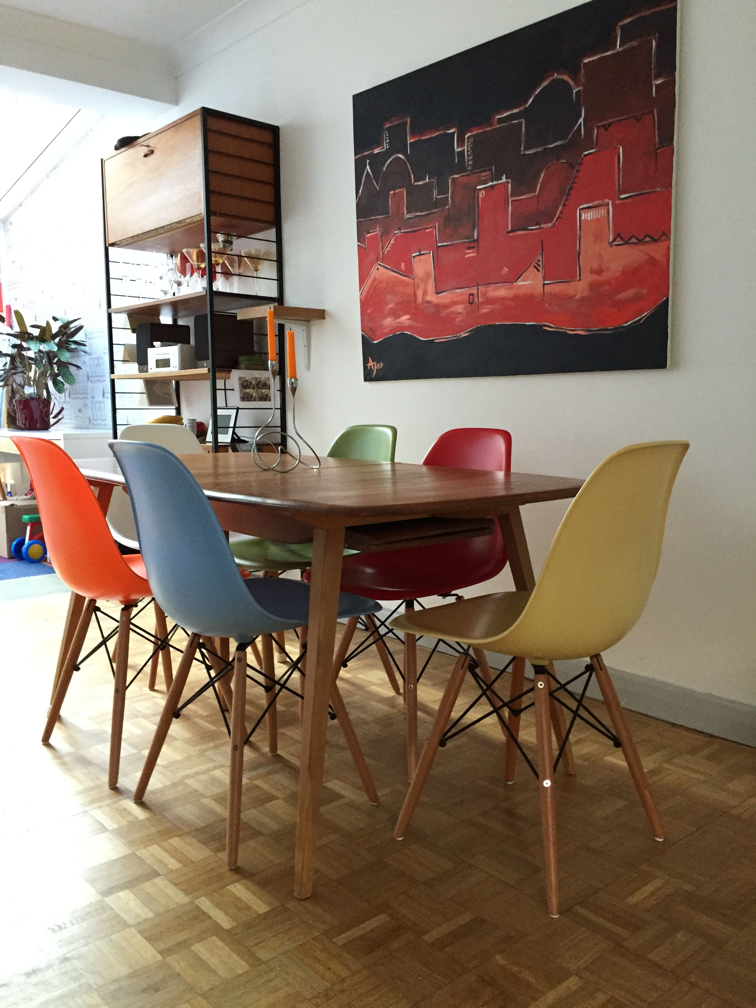 Dining Room Replica Eames Chairs Ladderax Ercol Table Ercol