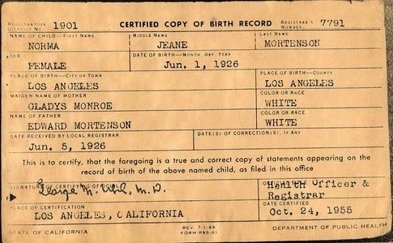 Norma Jeane MortensonS Birth Certificate   Marilyn Monroe