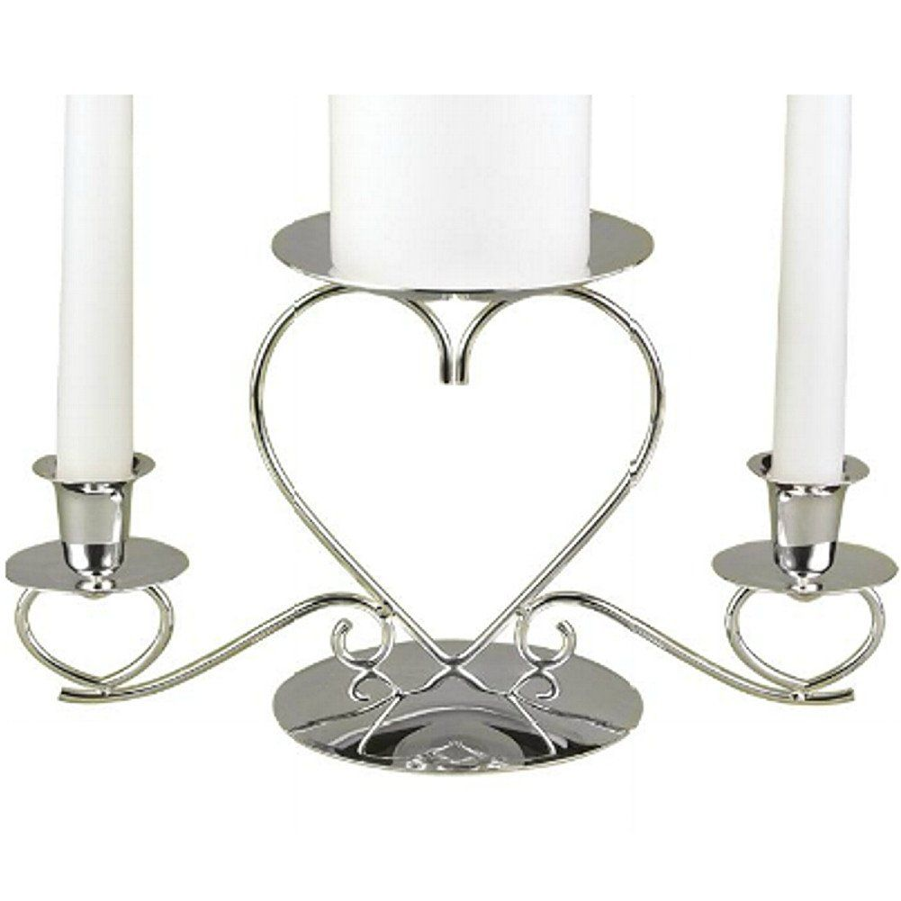 Triple Hearts Silver Plated Unity Candle Holder Holdercandle Standswedding