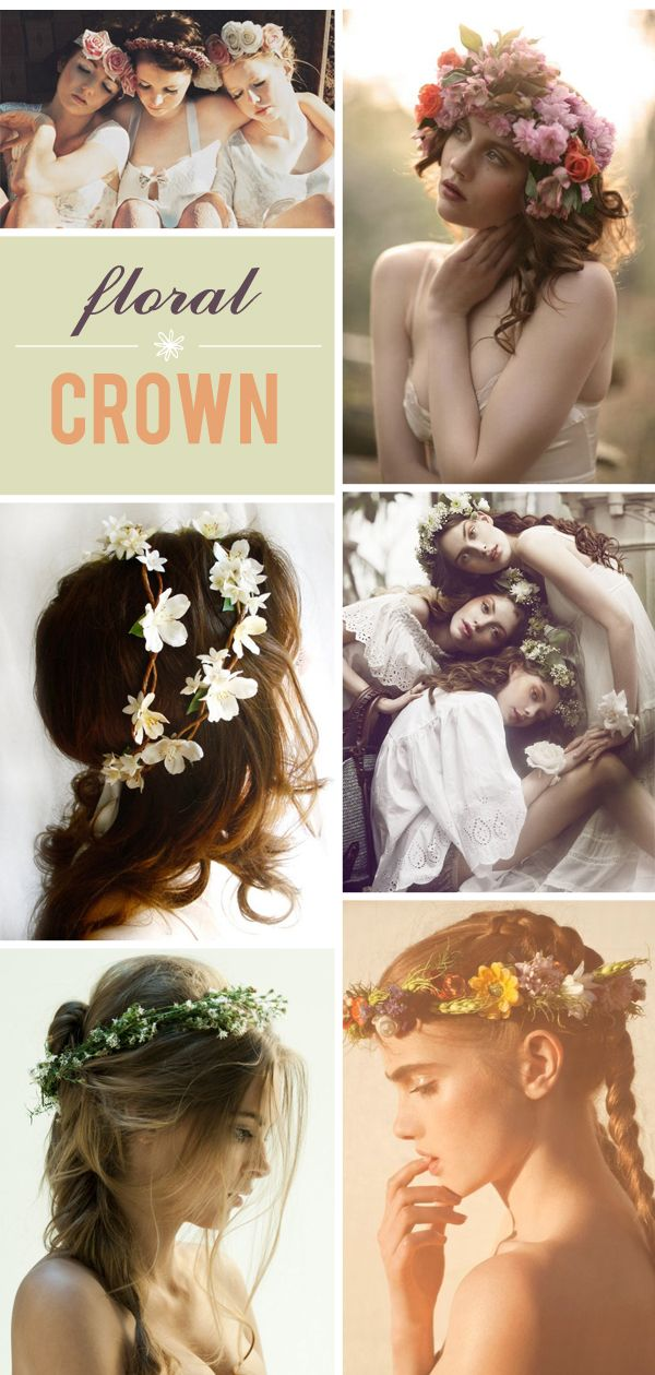 Clear DIY floral crown tutorial. A bit more advanced but I like the crowns pictured here for inspiration.