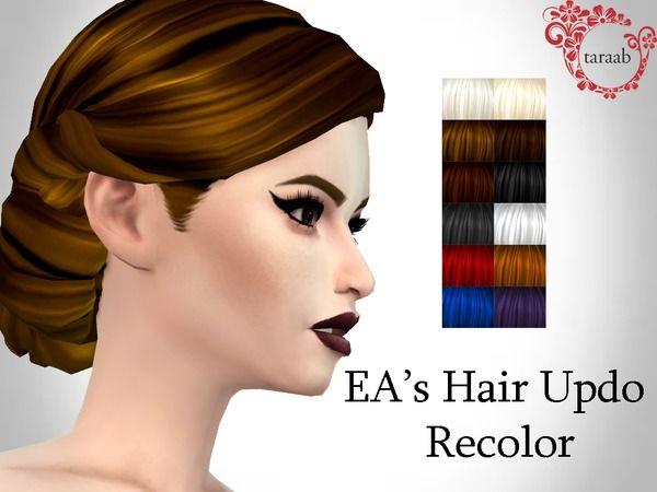 The Sims Resource: Hair Updo Recolor by taraab | Sims 4
