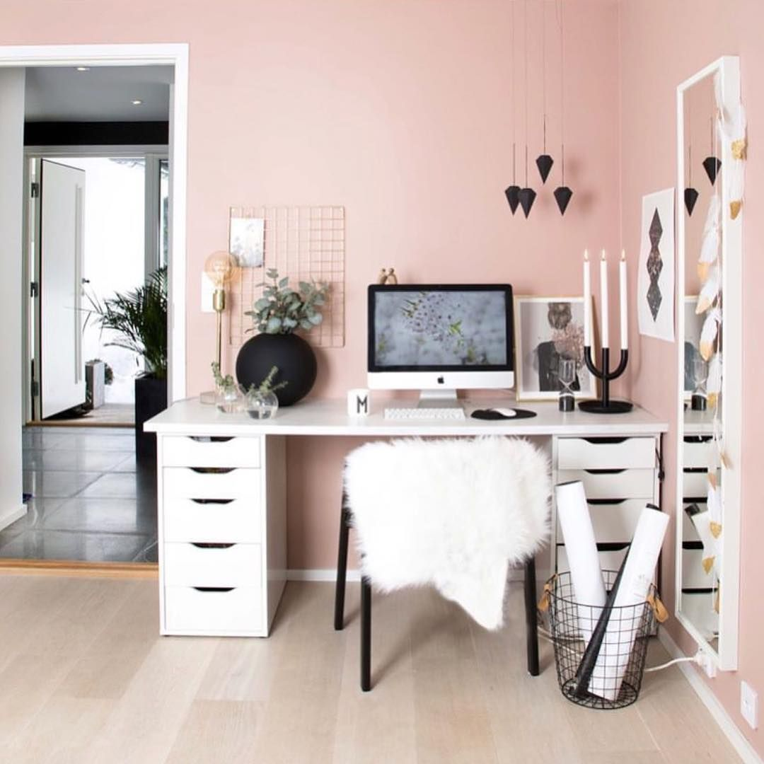 Modern Home Office space aesthetic, small room pink wall ... on Room Decor Ideas De Cuartos Aesthetic id=46457