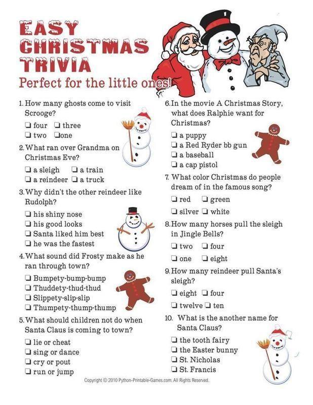 Christmas Christmas Easy Trivia For Kids In 2020 Printable Christmas Games Christmas Trivia For Kids Christmas Trivia